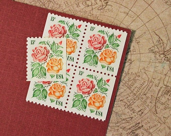 Forty 15c Garden Roses .. Vintage Unused US Postage Stamps .. Wedding Invitations, Valentines, Medallion Rose, Red Masterpiece Rose