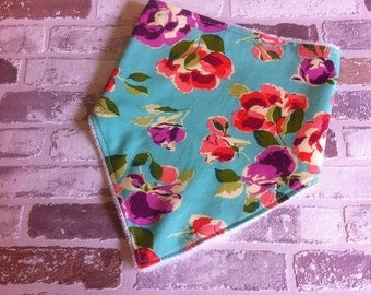 SALE teal floral baby toddler bandana dribble bib end of line clearance