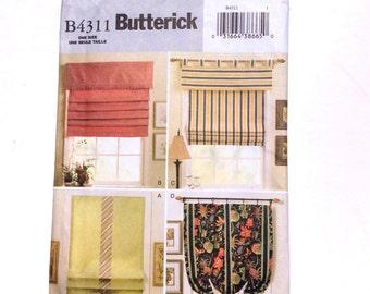 ButterickB4311, Window Shades Pattern, Custom Designed Window Treatments, Uncut Pattern