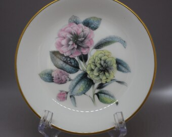 2 Catch-All Dishes, Made in England Royal Worcester Pink and Yellow Dahlia Flowers
