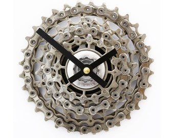 Gift for Boyfriend, Bike Gear Clock, Steampunk Wall Clock, Bicycle Clock, Bicycle Gear Clock, Mountain Bike Clock, Bike Parts Clock, SRAM