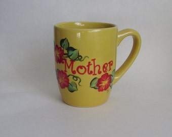 Mother Coffee Mug - Yellow Hand-painted Floral Tea Cup 12 ounce Personalized Gift