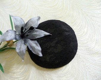Black Lace Covered Fascinator Base DIY Millinery Sinamay  Round Hat Form