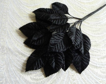 Velvet Millinery Leaves Black Beautiful Elegant Spray of 18 for Hats Scrapbooking, Fascinators 7LN0003BK