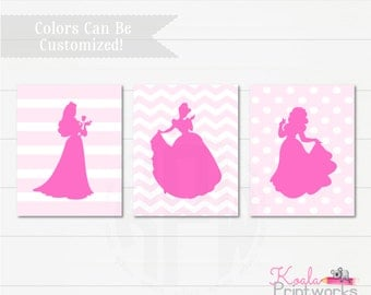Princess Art Print Set - Girls Bedroom Decor - Cinderella - Snow White - Sleeping Beauty - Princess Silhouettes - Disney Inspired