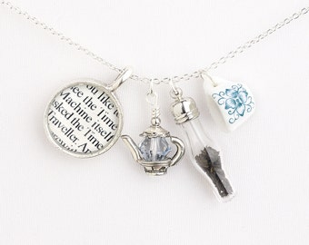 H.G. Wells Tea Necklace - Steampunk Jewelry - The Time Machine - Sci-Fi - Science Fiction - Geeky Jewelry - Steampunk Cosplay