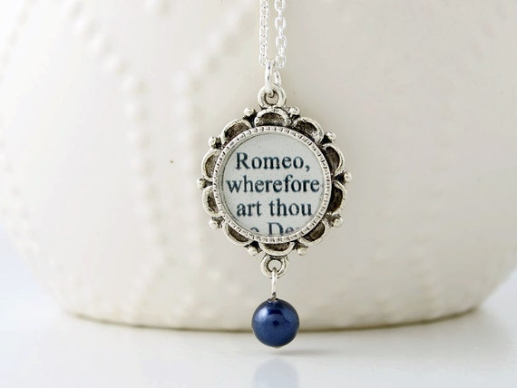 Romeo and Juliet Pearl Drop Necklace - Shakespeare Jewelry - Classic Literature - Romeo and Juliet Jewelry - Literary Gifts - Theatre