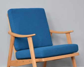 Restored Retro Chair in Blue Teal Bute Wool
