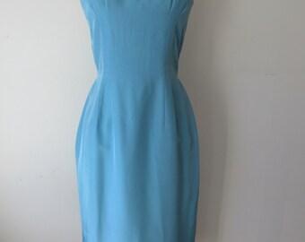 1950s Cornflower Blue Spaghetti Strap Wiggle Dress