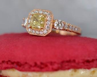 Art Deco-Inspired Yellow Diamond Ring (18K Rose and Yellow Gold)