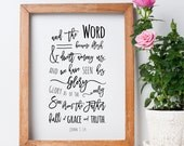 John 1:14 Printable, Bible Verse, Typography, Hand Lettering