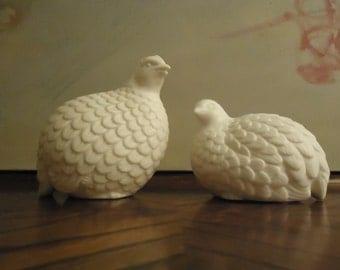 Vintage Pair of White Ceramic Porcelain Partridges . Quail