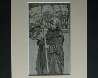 Antique Arthurian Legend Print of Nacien the Hermit by Henry Ryland, Available Framed, Medieval Art, King Arthur Folklore, Victorian Picture