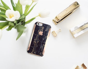 Platinum Edition Black & Bronze Marble with Rose Gold Detailing Hybrid Hard Case Otterbox Symmetry iPhone 6 / iPhone 7 / iPhone 8 / iPhone X