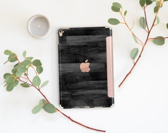 Platinum Edition Black Untreated Wood with Rose Gold Smart Cover Hard Case for iPad Air 2, iPad mini 4 , iPad Pro , New iPad 9.7 2017