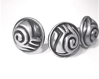 Geometric Pewter Knob, Scroll Custom Cabinet Hardware, Silver Drawer pull, Satin Pewter Contemporary Decorative knob