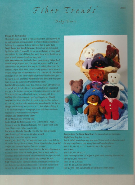 Fiber trends knitting pattern baby bears from lakeeffecthandcrafts fiber trends knitting pattern baby bears from lakeeffecthandcrafts on etsy studio dt1010fo