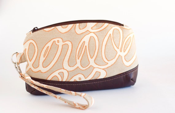 Orange and Brown Small Wristlet, Abstract Cursive Clutch Purse, Tan, Orange, and Brown Fabrics and Faux Leather, Handmade