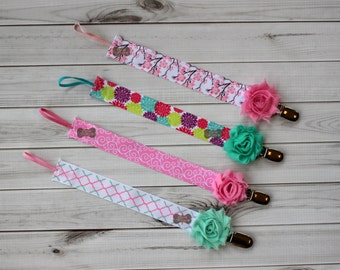 MORE STYLES-Boutique Style-Pacifier Clip-Baby Girl Pacifier Clip-Universal Pacifier Clip-Paci Clip-Mint and Pink-Binky Holder-Flowered-Girls