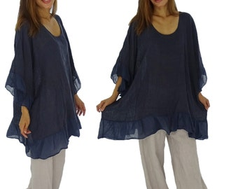 HN400BL ladies blouse linen tunic Gr. 42 44 46 48 50 52 blue