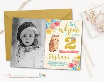 Owl Birthday Invitation, Owl Invitation, Owl Birthday Party, Fall Birthday Invitation, Fall Invitation, Look Whoo Invitation, 2nd Birthday