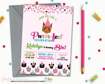 Kitty Birthday Invitation, Cat Birthday Invitation, Kitty Cat Birthday Invitation, Cat Birthday Party, Kitty Birthday Party, Kitten Birthday