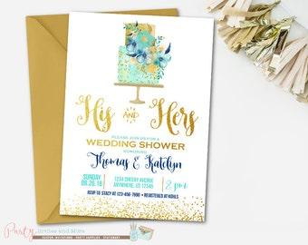 Couple's Wedding Shower Invitation, Couples Wedding Shower Invitation, His and Hers Wedding Shower Invitation, Gold Wedding Shower