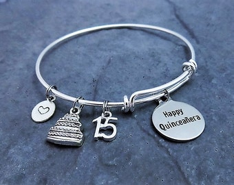 Happy Quinceañera Jewelry - Feliz Quinceañera Bracelet - 15th Birthday - Charm bracelet - Expandable Bracelet - Adjustable - Gift for Her