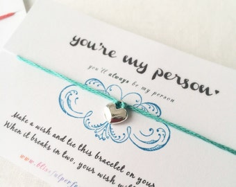 Wish Bracelets - You're My Person, Friendship Bracelet, Best Friend, Besties, Partner in Crime, Best Friend Gift