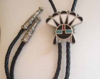 Vintage Zuni Headdress Bolo Inlay Sterling Native American Artisan Made Signed