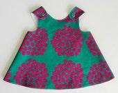 Baby Pinafore Dress, Marimekko fabric, Puketti Green and Violet, 12 months