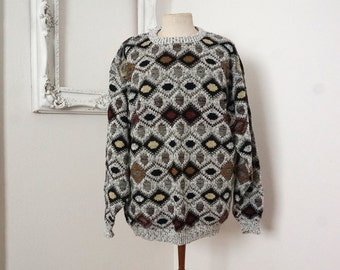 White and Coffee Browns Vintage Acrylic Geometric Sweater XXL Tall
