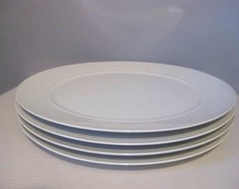 Mid Mod All White Dinner Plates (4) Blanc by Block Langenthal Switzerland Raymond Loewy Design
