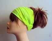 Neon Lime Green Yoga Headband Elastic Back Wide Cotton Headband Dreadlock Headband Fitness Headband