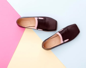 Women's flats , Brown leather Slip-Ons shoes brown and pink loafers , handmade ADIKILAV , ON SALE