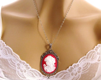 Cameo Necklace, Victorian Woman Red Cameo Victorian Jewelry, Antiqued Silver, Red Cameo Necklace