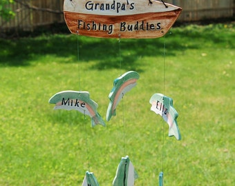 Grandpa's Fishing Buddies Custom Family Ceramic Wind Chime, Grandpa Chime, Grandpa's Catch, Papa Wind Chime, Father's Day Gift, Dad Gift