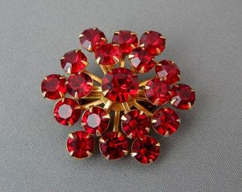 Vintage Red Rhinestone Pin Atomic Starburst, Mid Century Red Brooch, Estate Jewelry, Christmas Jewelry