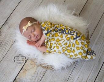 Personalized Baby Name Blanket- Printed swaddle ANIMAL PRINT- Cheetah