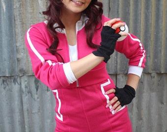 Pokemon GO Trainer Magenta Cosplay Costume Hoodie Cropped Jacket