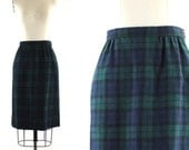 Pendleton wool skirt / blue green plaid skirt / vintage 80s preppy tartan skirt S