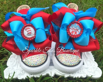 THING 1 THING 2 - Dr Suess Birthday - Thing 1 and Thing 2 birthday - Red - pageant - Bling Converse - Crystals - Girls shoes  - Sizes 2-13