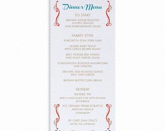 Rustic Mexico Print-at-Home Wedding Dinner Menu with Printable Thank You Card Print-ready Place cards and Ribbon Floral Table Number Card