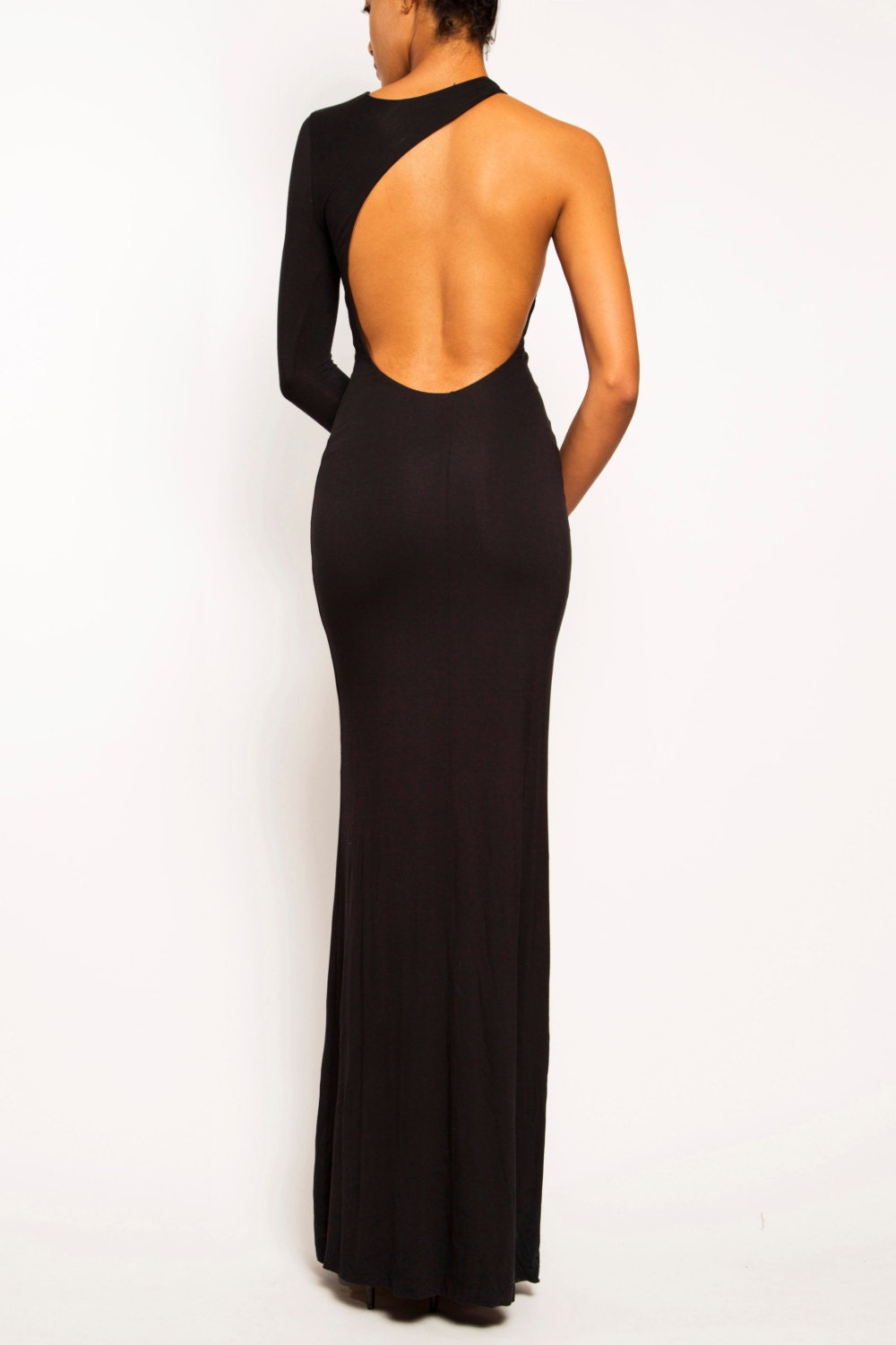 leighton one shoulder backless asymmetric jersey wedding