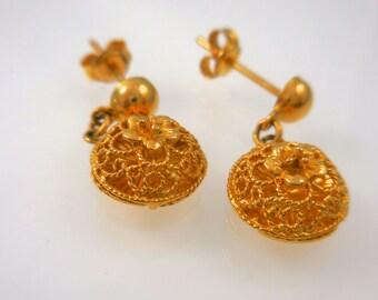 Gold Earrings 22 K Yellow Gold Filigree Dangle Earrings