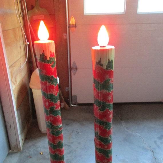 Rare poloron christmas candles metal candles lighted outdoor for Outdoor christmas candles