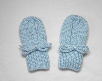 Blue Baby Mittens - Hand Knit Thumbless Acrylic Mitts Fitting Babies 0 to 12 Months - Soft Infant Cable Design Gloves - Baby Shower Gift
