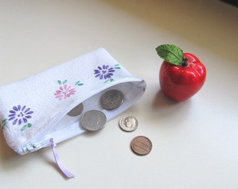 Pocket Tissue cover with coin pouch, tissue coin purse, vintage embroidery, zippered change pouch, CP14