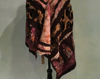Nuno Felted Shawl, Nuno Felted Scarf, Felted Shawl on Sari Silk, Silk Felted Shawl, Felted Clothing