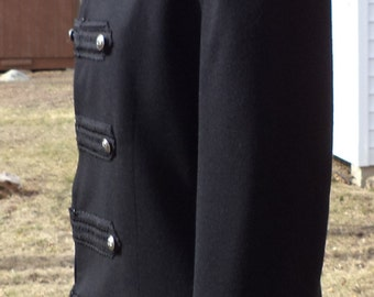 Military Jacket - Black Wool Blazer - Upcycled Recycled Repurposed Clothing - Size 8